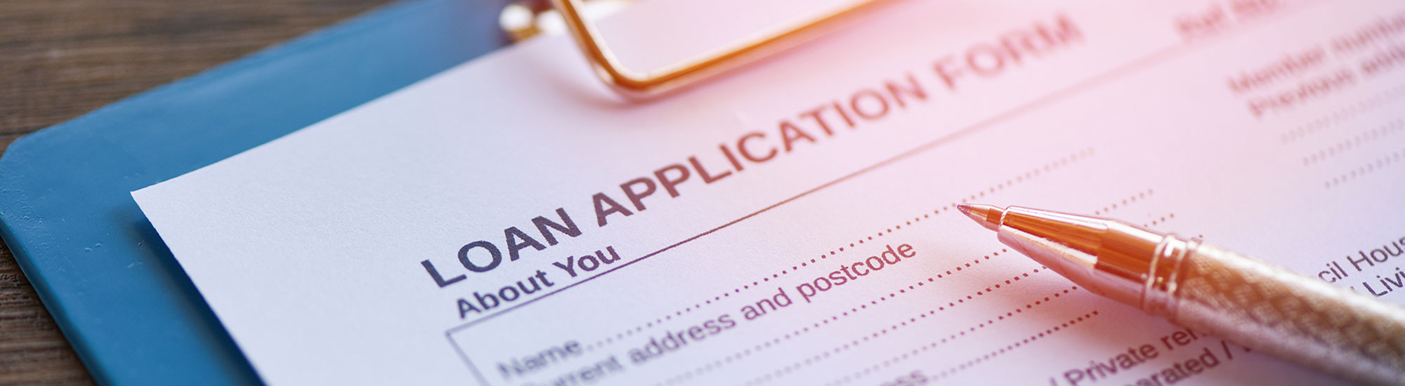 close-up of loan application form and pen